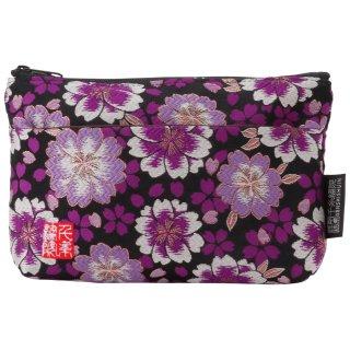 千糸繍院 西陣織 金襴 ポーチ(裏地付き) 黒紫八重桜 (Sサイズ)