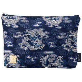 千糸繍院 西陣織 金襴 ポーチ/御朱印帳ケース(裏地付き)  藍翔龍(LLサイズ)
