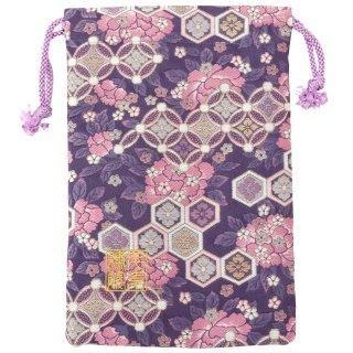 【真鍮ベル付き】千糸繍院 西陣織 金襴 巾着袋(裏地付き) 花紋牡丹 Mサイズ