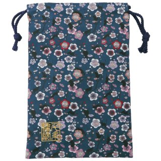 【真鍮ベル付き】千糸繍院 西陣織 金襴 巾着袋(裏地付き) 藍梅猫舞 Mサイズ
