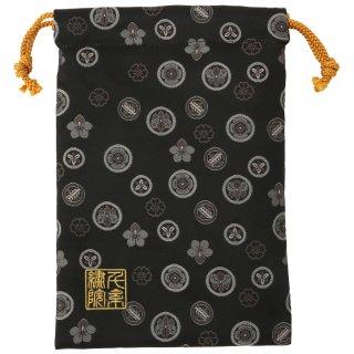 【真鍮ベル付き】千糸繍院 西陣織 金襴 巾着袋(裏地付き) 黒煤家紋 Mサイズ