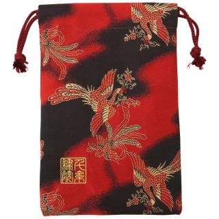 【真鍮ベル付き】千糸繍院 西陣織 金襴 巾着袋(裏地付き) 炎舞鳳凰 Mサイズ