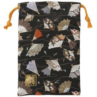 【真鍮ベル付き】千糸繍院 西陣織 金襴 巾着袋(裏地付き) 黒華扇子流 Mサイズ