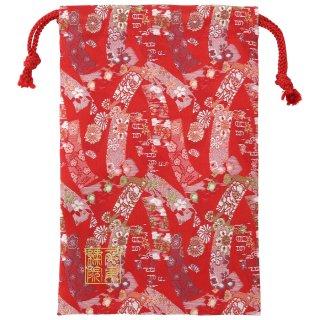 【真鍮ベル付き】千糸繍院 西陣織 金襴 巾着袋(裏地付き) 朱華短冊 Mサイズ