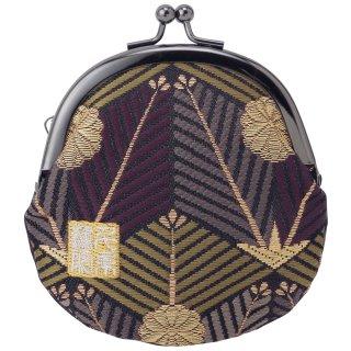 千糸繍院 西陣織 金襴 がま口 2.5寸丸型財布/小銭入れ(裏地付き) 紫翠亀甲松