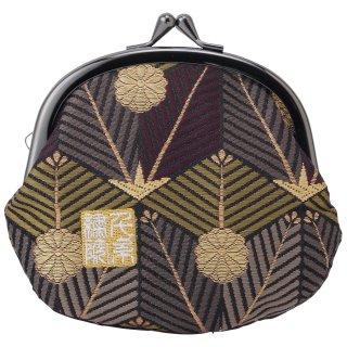 千糸繍院 西陣織 金襴 がま口 3.5寸丸型財布/小銭入れ(裏地付き) 紫翠亀甲松