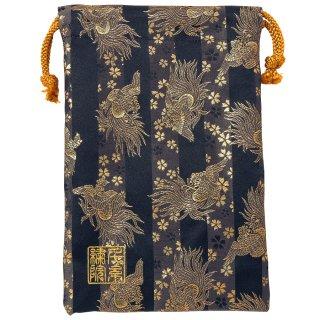 【真鍮ベル付き】千糸繍院 西陣織 金襴 巾着袋(裏地付き) 黒金鳳凰桜 Mサイズ