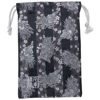 【真鍮ベル付き】千糸繍院 西陣織 金襴 巾着袋(裏地付き) 黒銀鳳凰桜 Mサイズ