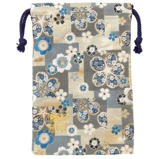 【真鍮ベル付き】千糸繍院 西陣織 金襴 巾着袋(裏地付き) 紺碧桜畳 Mサイズ
