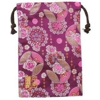【真鍮ベル付き】千糸繍院 西陣織 金襴 巾着袋(裏地付き) 紫薔薇冠 Mサイズ