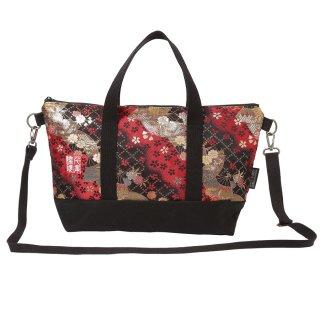 千糸繍院 西陣織 金襴 ショルダーバッグ(裏地付き)  紅扇桜