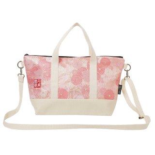 千糸繍院 西陣織 金襴 ショルダーバッグ(裏地付き)  桃笹菊