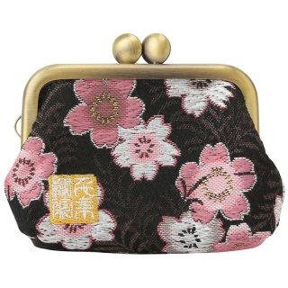 千糸繍院 西陣織 金襴 がま口 2.5寸角型マチ付き財布/小銭入れ(裏地付き) 黒桃桜