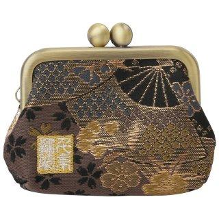 千糸繍院 西陣織 金襴 がま口 2.5寸角型マチ付き財布/小銭入れ(裏地付き) 煤扇桜