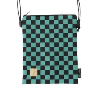 千糸繍院 西陣織 金襴 ポシェット/御朱印帳ショルダーバッグ(裏地付き) 緑市松(Lサイズ)