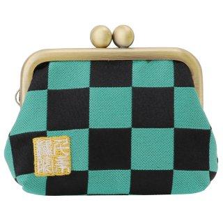 千糸繍院 西陣織 金襴 がま口 2.5寸角型マチ付き財布/小銭入れ(裏地付き) 緑市松