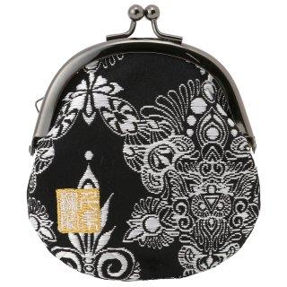 千糸繍院 西陣織 金襴 がま口 2.5寸丸型財布/小銭入れ(裏地付き) 黒ダマスク