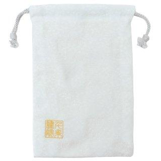 【真鍮ベル付き】千糸繍院 西陣織 金襴 巾着袋(裏地付き) 白雪小桜 Mサイズ