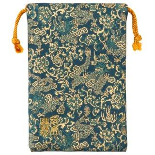 【真鍮ベル付き】千糸繍院 西陣織 金襴 巾着袋(裏地付き) 翡翠龍 Mサイズ