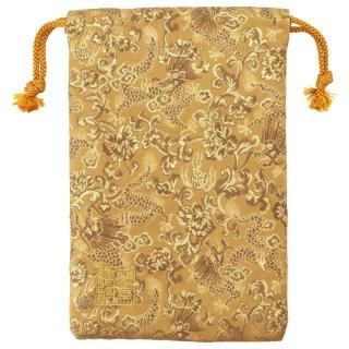 【真鍮ベル付き】千糸繍院 西陣織 金襴 巾着袋(裏地付き) 黄金龍 Mサイズ