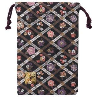 【真鍮ベル付き】千糸繍院 西陣織 金襴 巾着袋(裏地付き) 四季花格子 Mサイズ