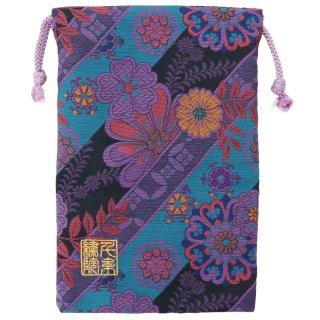 【真鍮ベル付き】千糸繍院 西陣織 金襴 巾着袋(裏地付き) 紫花露草 Mサイズ