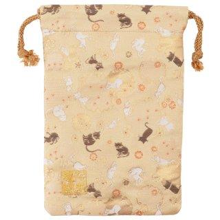 【真鍮ベル付き】千糸繍院 西陣織 金襴 巾着袋(裏地付き) 蜜色雪輪猫 Mサイズ