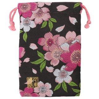 【真鍮ベル付き】千糸繍院 西陣織 金襴 巾着袋(裏地付き) 黒恋大桜 Mサイズ
