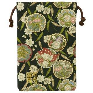 【真鍮ベル付き】千糸繍院 西陣織 金襴 巾着袋(裏地付き) 黒花雪輪蝶 Mサイズ