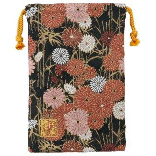 【真鍮ベル付き】千糸繍院 西陣織 金襴 巾着袋(裏地付き) 黒紅笹菊 Mサイズ