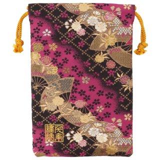 【真鍮ベル付き】千糸繍院 西陣織 金襴 巾着袋(裏地付き) 恋扇桜 Mサイズ