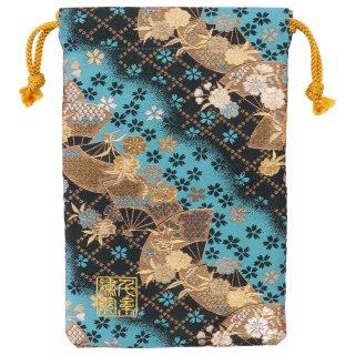 【真鍮ベル付き】千糸繍院 西陣織 金襴 巾着袋(裏地付き) 空扇桜 Mサイズ