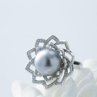 Lotus Gray pearl Ring ロータスリング