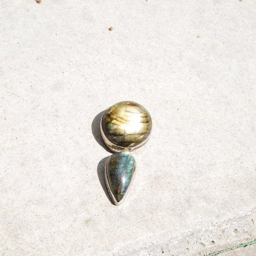 Vintage Sterling Silver Double stone pendant