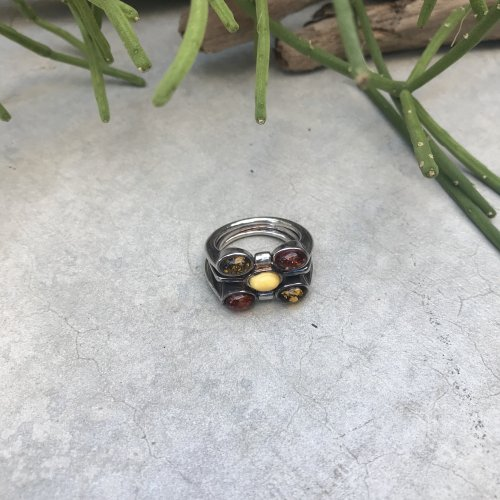 Vintage  Amber Inlay Ring