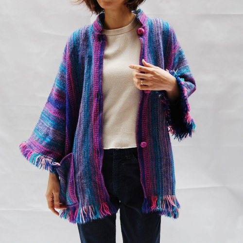 Vintage Colorful  Fringe Knit Cardigan
