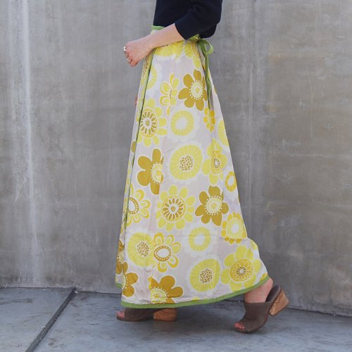 Yellow Flower Retro Wrap Skirt