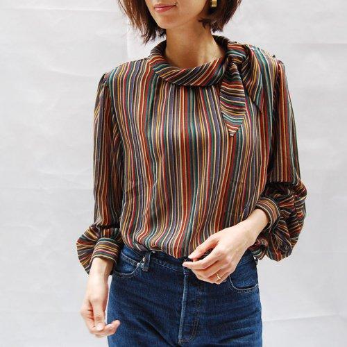 Colorful Stripe Tie Blouse