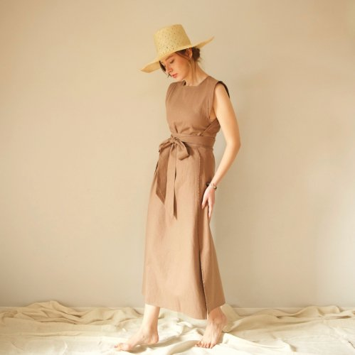 Linen Wrap Dress (light brown)