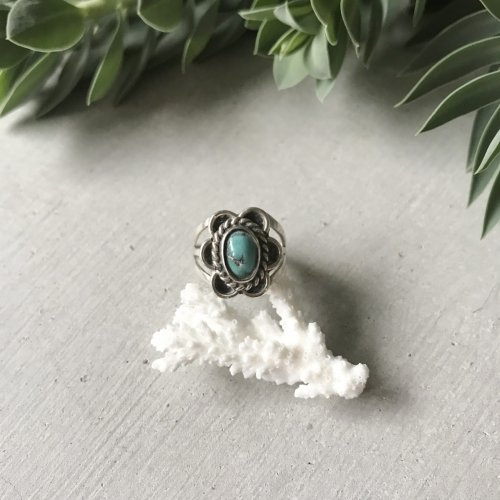 Sterling Silver Turquoise Flower Ring 1