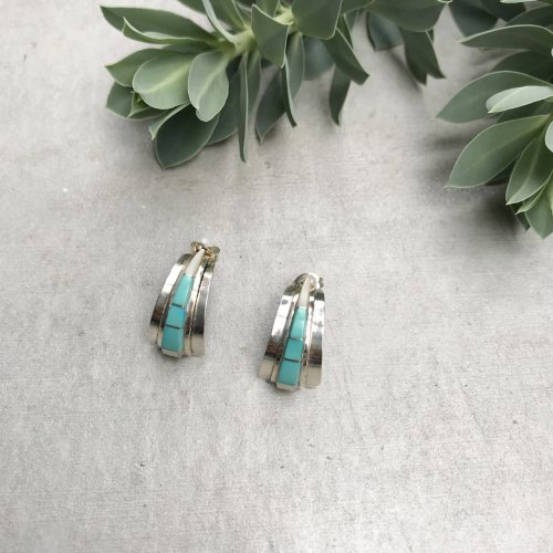 Turquoise & Mother of pearl Inlay Silver Earring