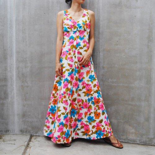 Vintage 70's Retro Print  Summer Dress