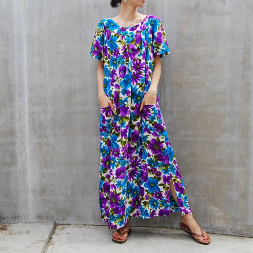 Vintage 70's Purple Retro Print  Summer Dress