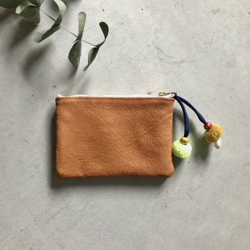 Pompom Leather Mini Pouch_Red