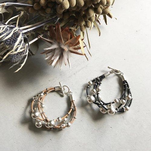 Silver Beads Leather Bracelet
