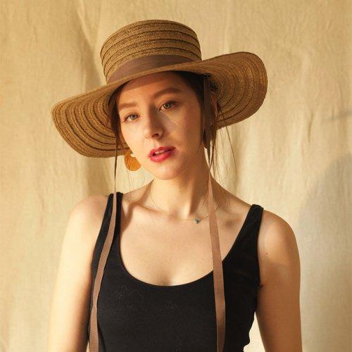 Jute Blade Ribbon Flat Hat