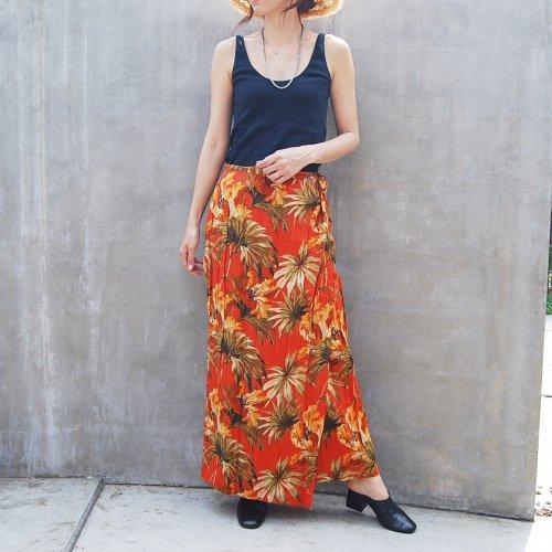 Orange Hawaiian Wrap skirt