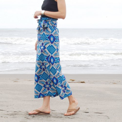 Pagne Wrap Skirt_navy1