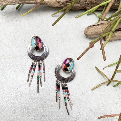 Colorful Beads Fringe Earring