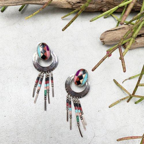 Colorful Beads Fringe Earring